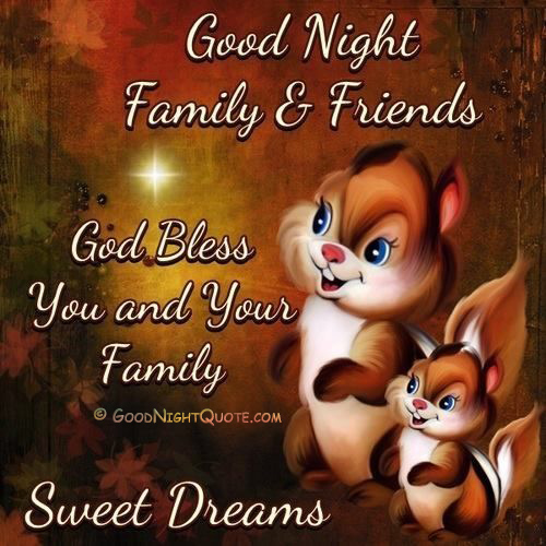 Good Night Family and Friends Quotes