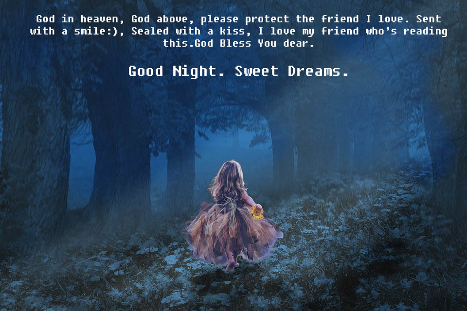 Praying god for lovely friend - Good Night Wishes