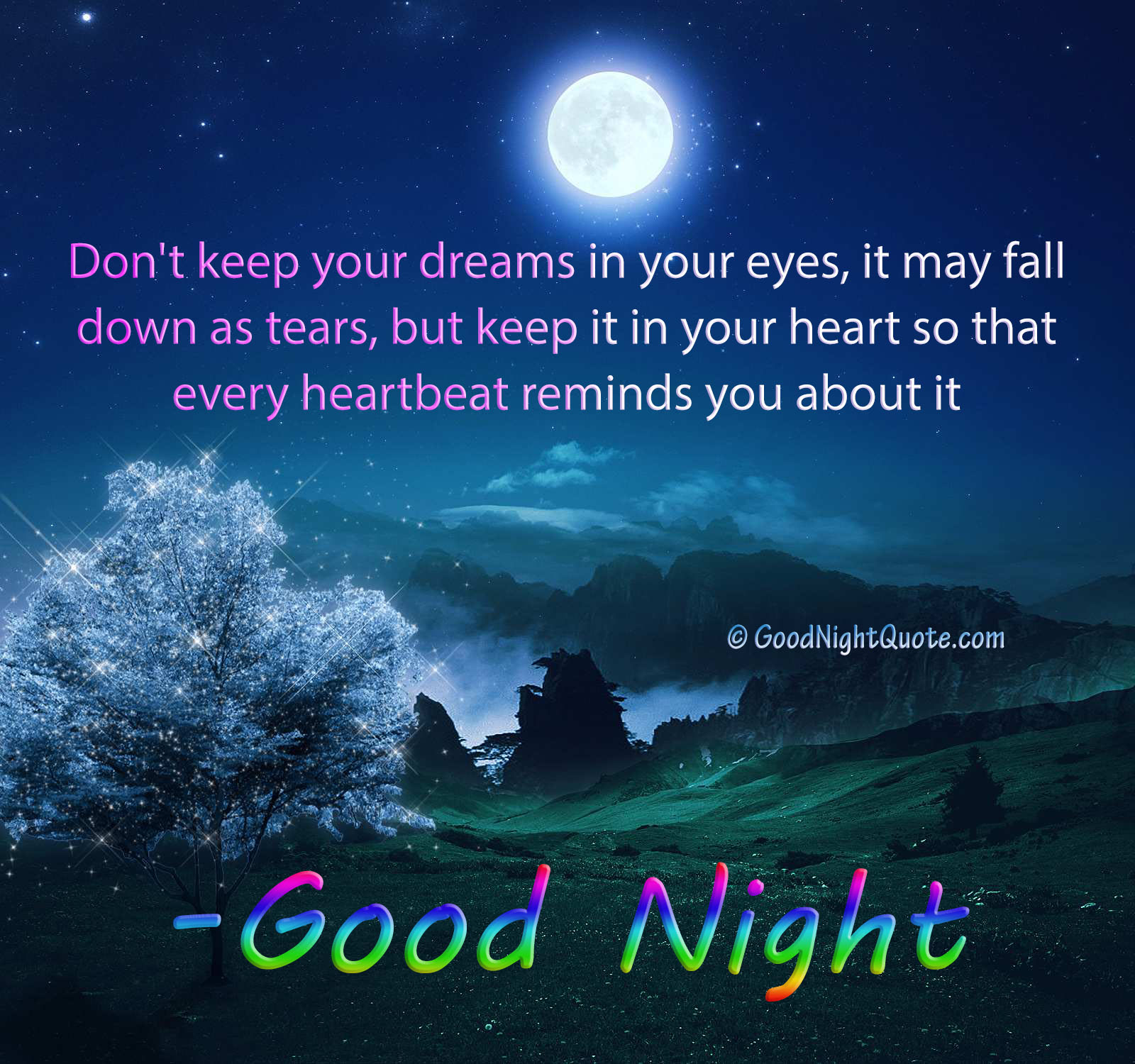 Good Night Quotes Keep Your Dreams In Your Heart Good Night
