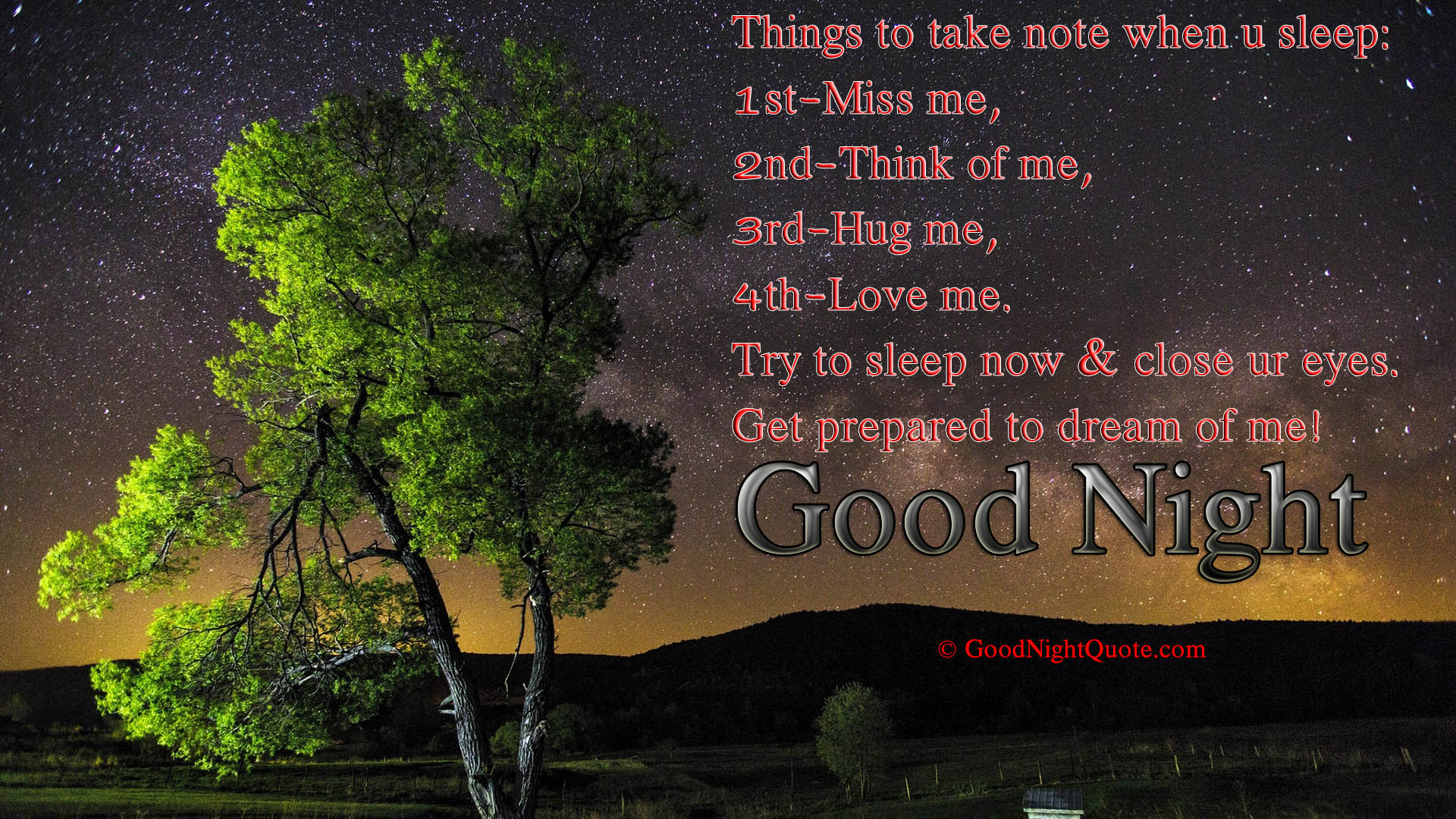 Good Night - Romantic things to take note when you sleep