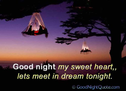 Romantic Good Night Messages for Her - Let us meet in dream tonight sweetheart