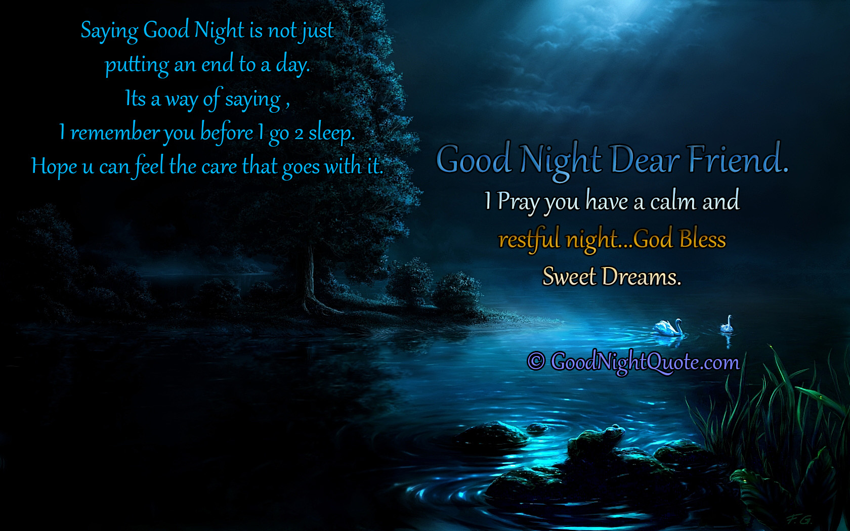 Good Night Messages For Friends - Quote for remembering your friend to think of you.