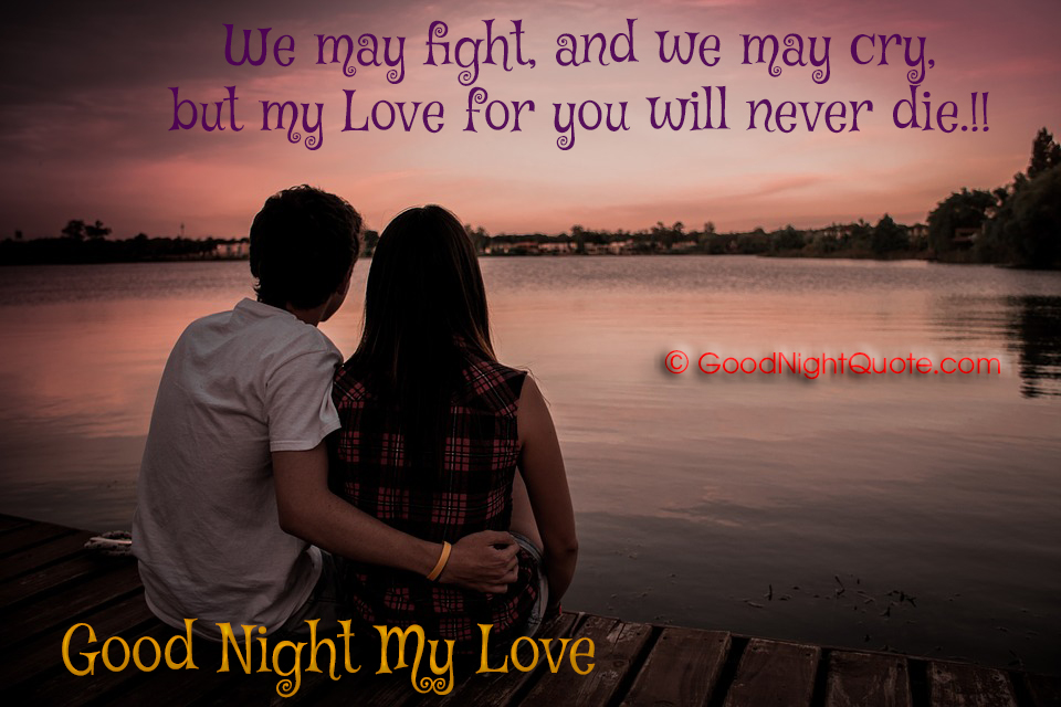 Good Night Quotes for Lover - We may fight, and we may cry, but my Love for you will never die!!