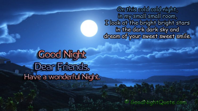 Good Night Messages For Friends - Wonderful Night - Bright stars - cold night - dark sky wishes