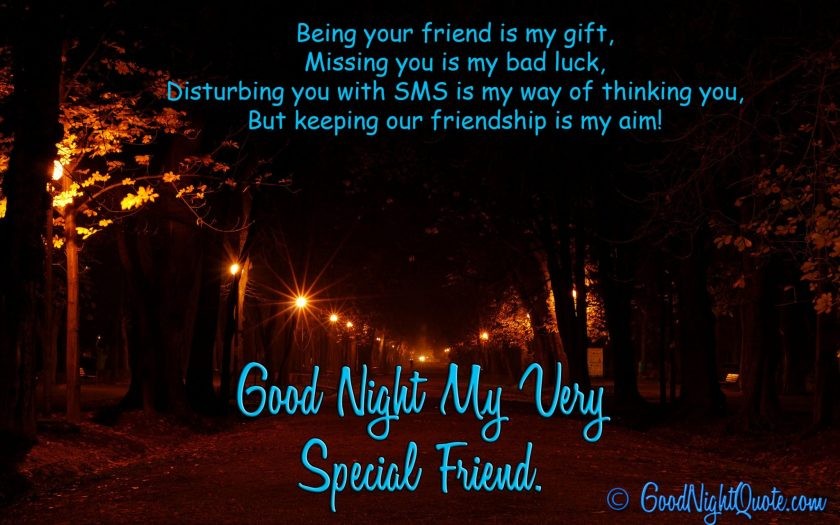 Good Night Messages For Friends - Wonderful quote on friendship for special friends