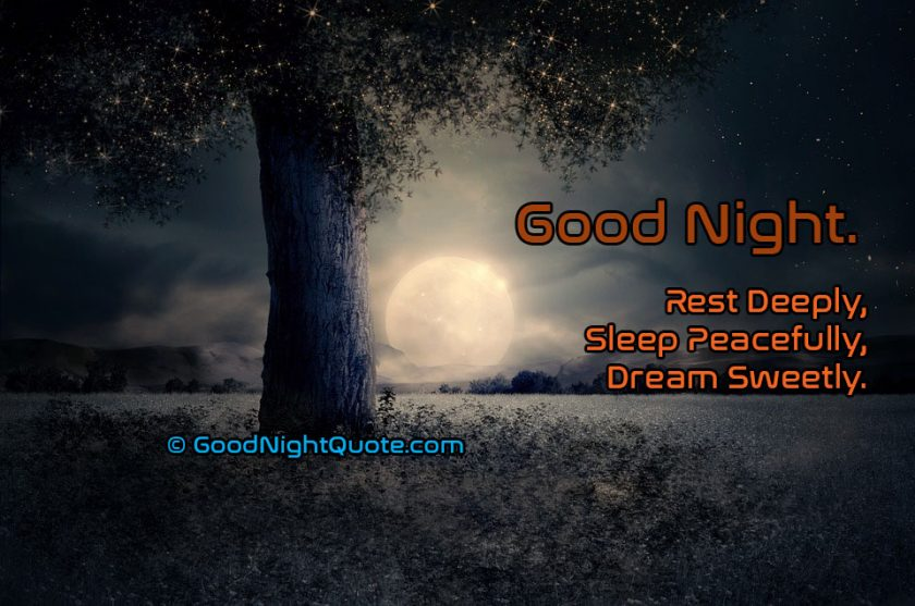 Rest Deeply, Sleep Peacefully, Dream Sweetly - Sweet Good Night Quotes