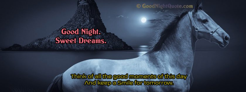 Sweet Good Night Quotes Think of all good moments of today - Good Night Banner - Whatsapp Status