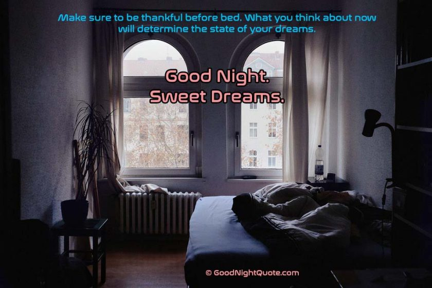 Good Night HD Images - Be positive before going to bed quote