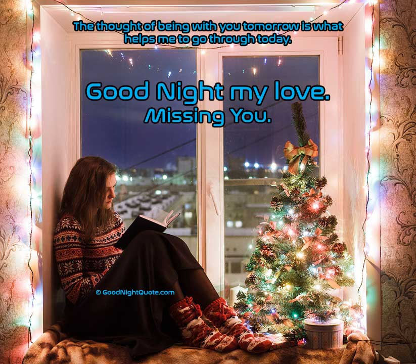 Cute Miss you - Thinking about you good night quote for him