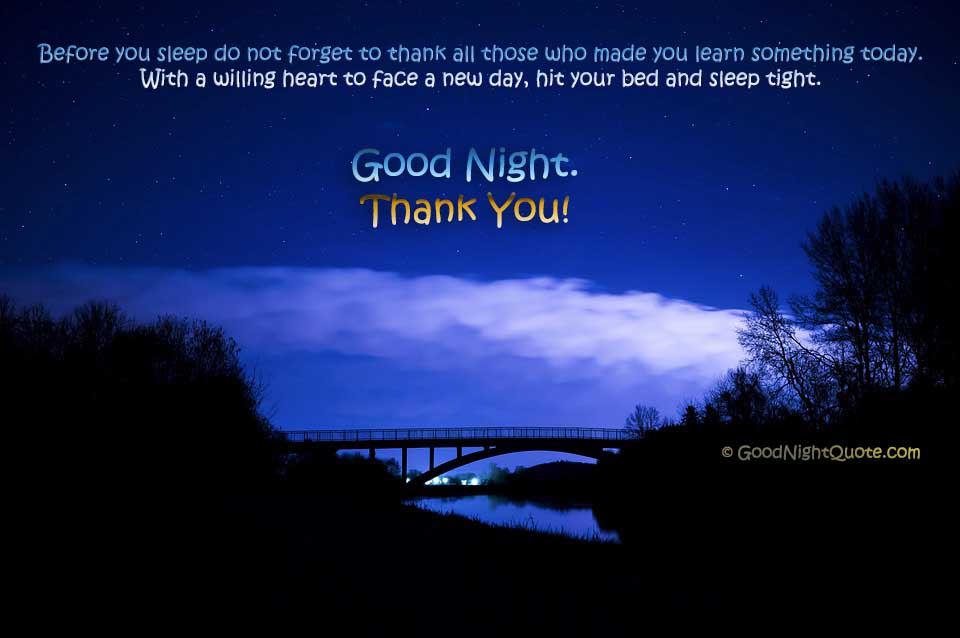 Good Night With Thank You Message