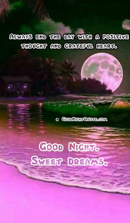 Good night with pink color moon and beach - Good Night Messages For Friends