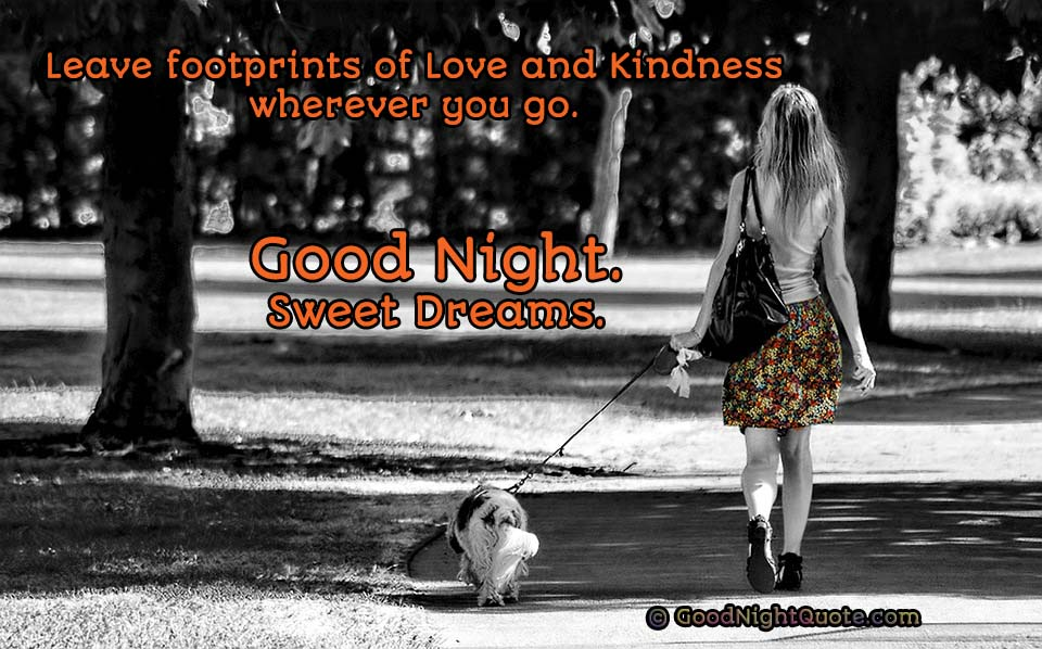 Leave footprints of love and kindness wherever you go - Good Night Quote
