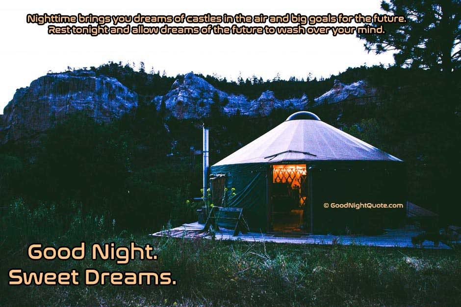 Good Night HD Images - Sweet Dreams With Inspirational Quote and Beautiful Location
