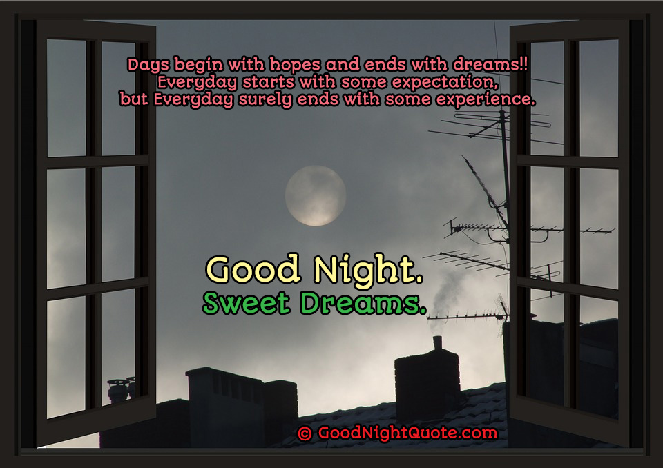 Good Night HD Images - Days begin with hopes and ends with dreams!