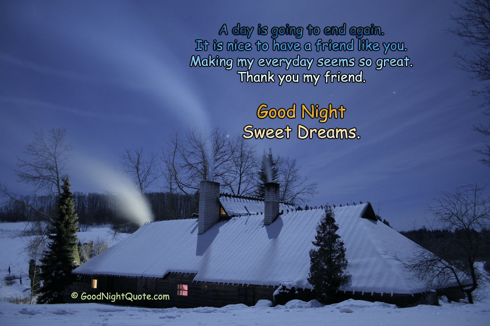 Good Night Friendship Quote - Winter Night