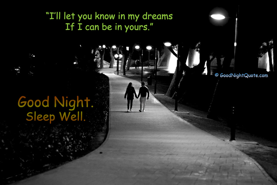 Lovers Night Walking - Good Night Dreams Quote